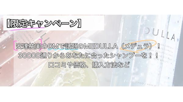 【初回限定キャンペーン】安達祐実のCMで話題のMEDULLA(メデュラ)!30,000通りからあなたに合ったシャンプーを!!口コミや価格、購入方法など